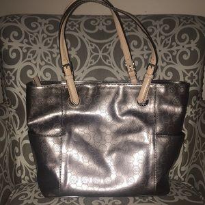 Michael Kors silver metallic bag purse tote